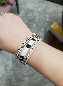White Cheetah Magnetic Wrap Bracelet