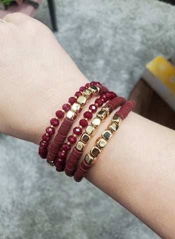 Burgundy & Gold Stack Bracelet