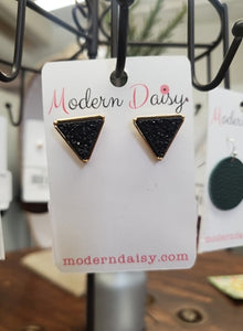 Triangle Black Druzy Stud Earrings