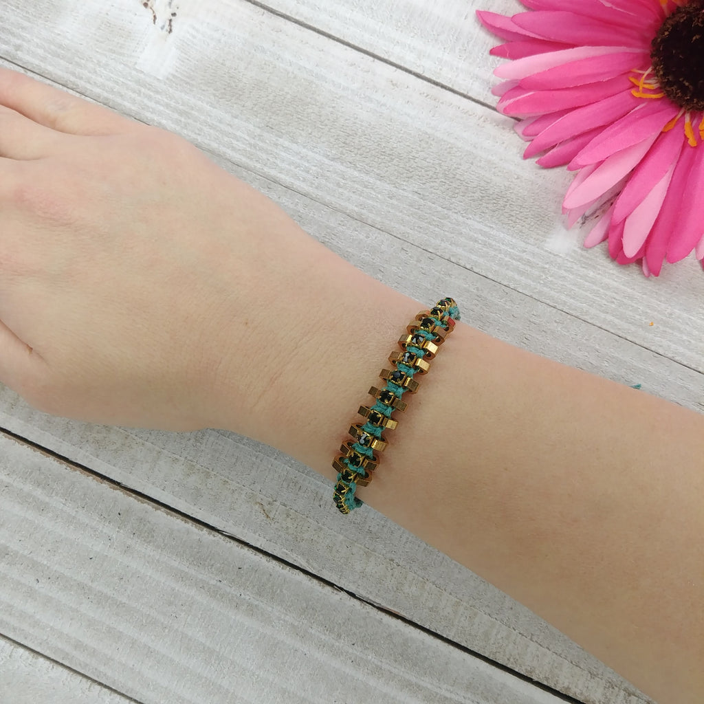 Braided Teal and Gold Jeweled Bracelet