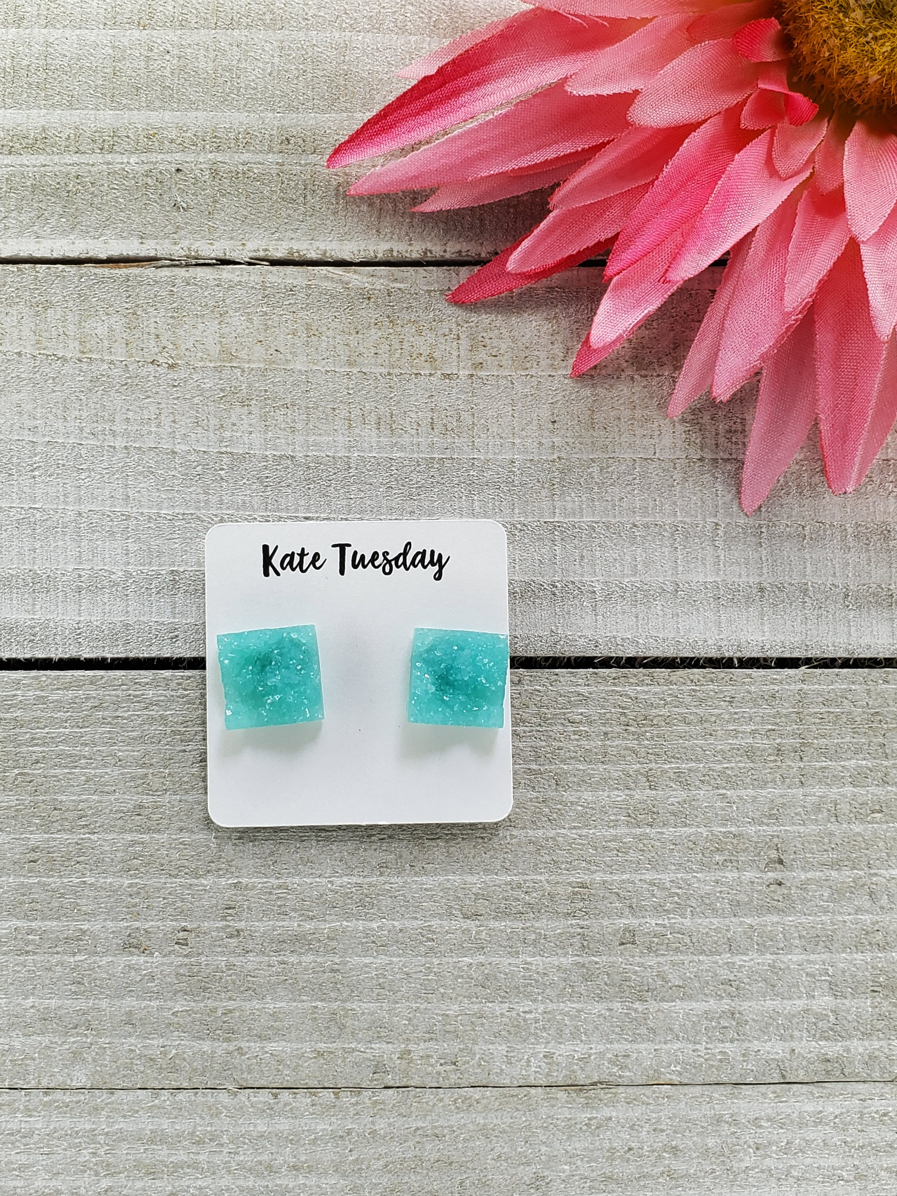 12mm Square Druzy Stone Earring studs. Such fun summer colors and only $9. Available in a variety of colors.
