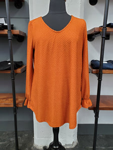 Swiss Dot V-Neck Long Sleeve Top