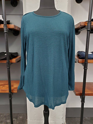 Teal Long Sleeve Waffle Knit Top
