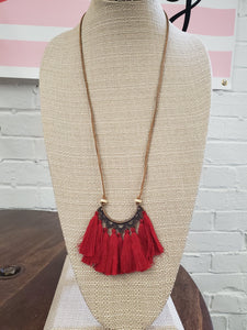 Red Boho Tassel Necklace