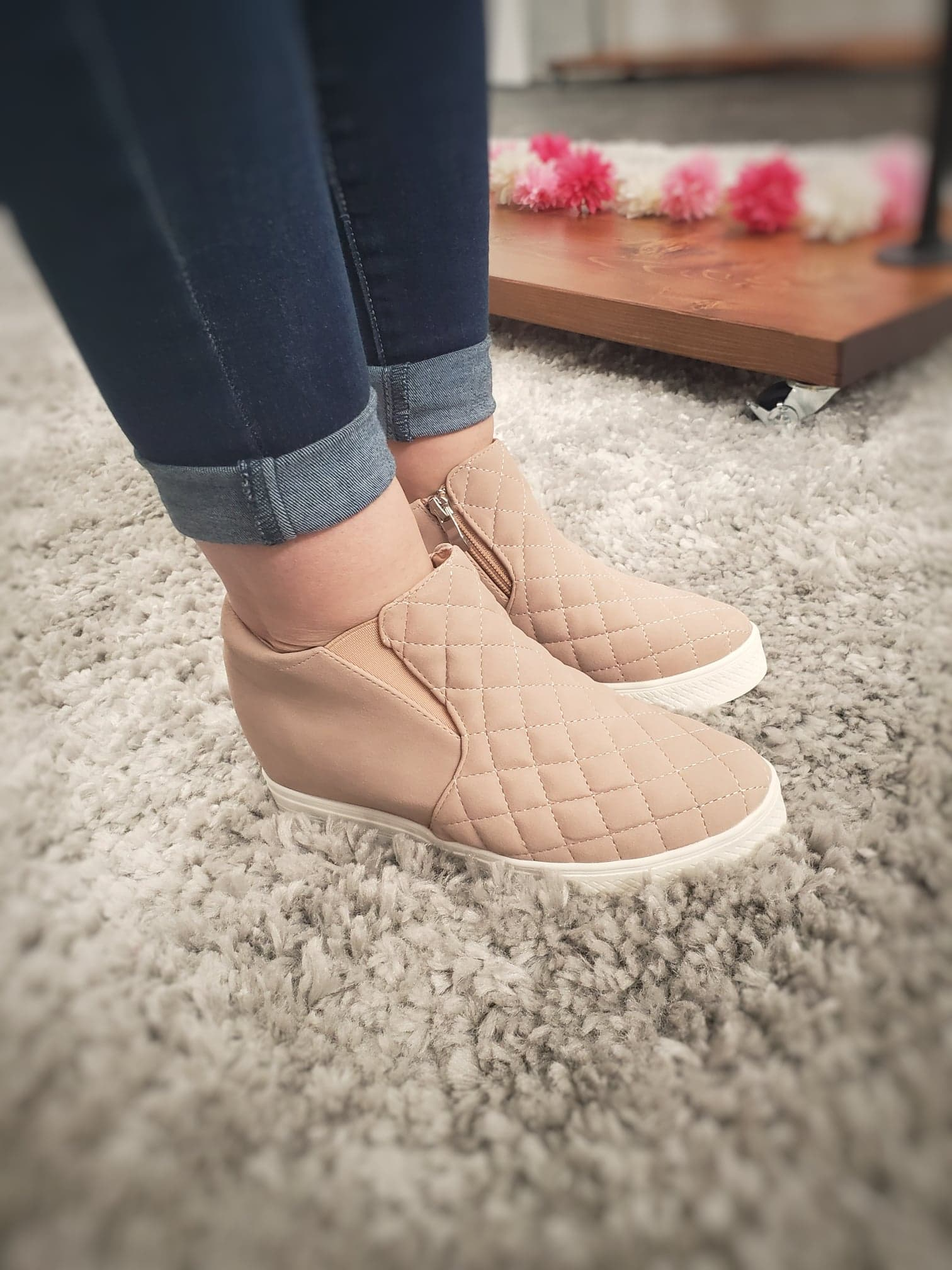 Blush Wedge Booties