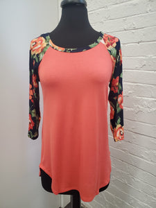 Coral Top w/Floral Sleeves