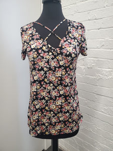 Floral Criss Cross Short Sleeve Top