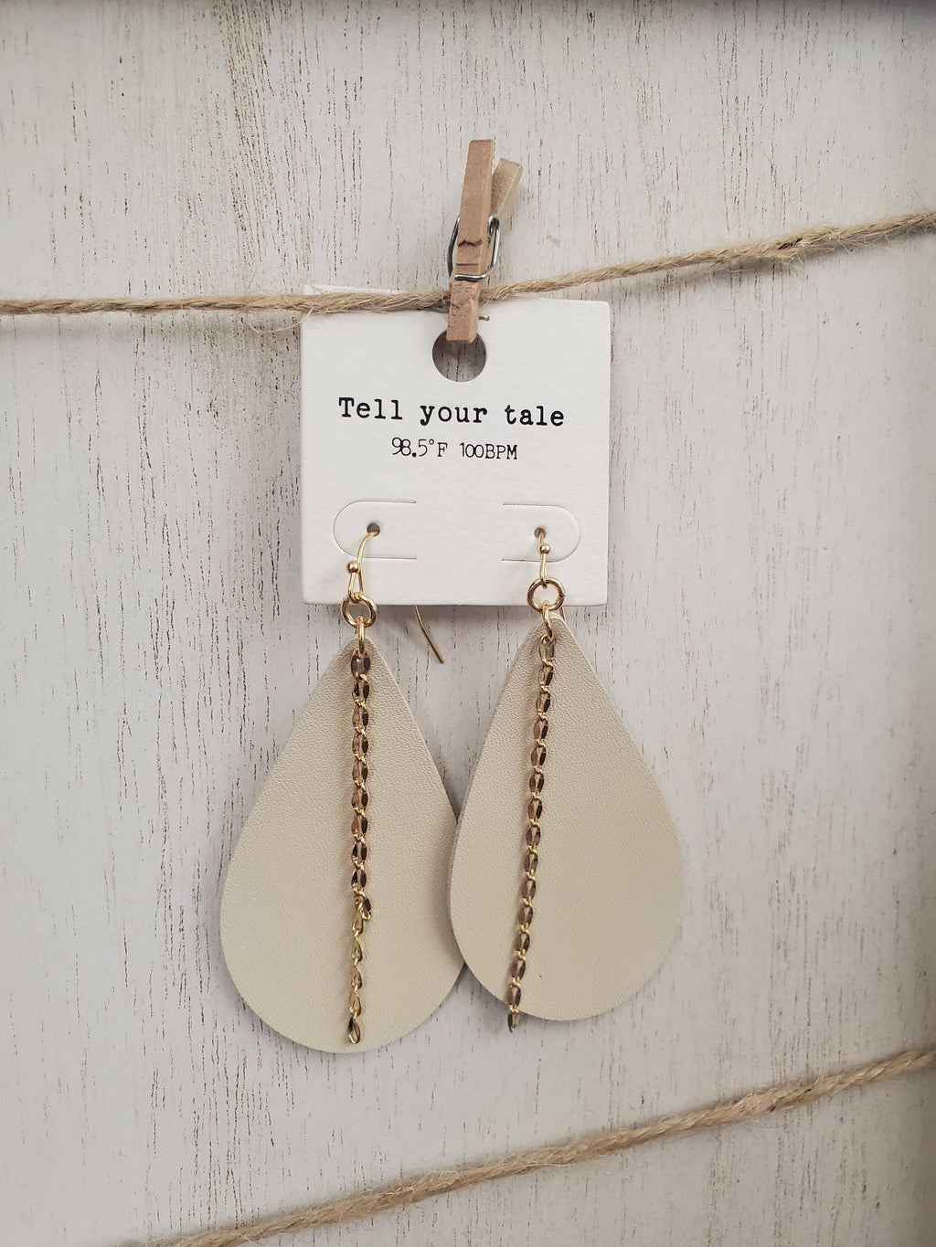 Tan Leather Earrings w/Gold Accent