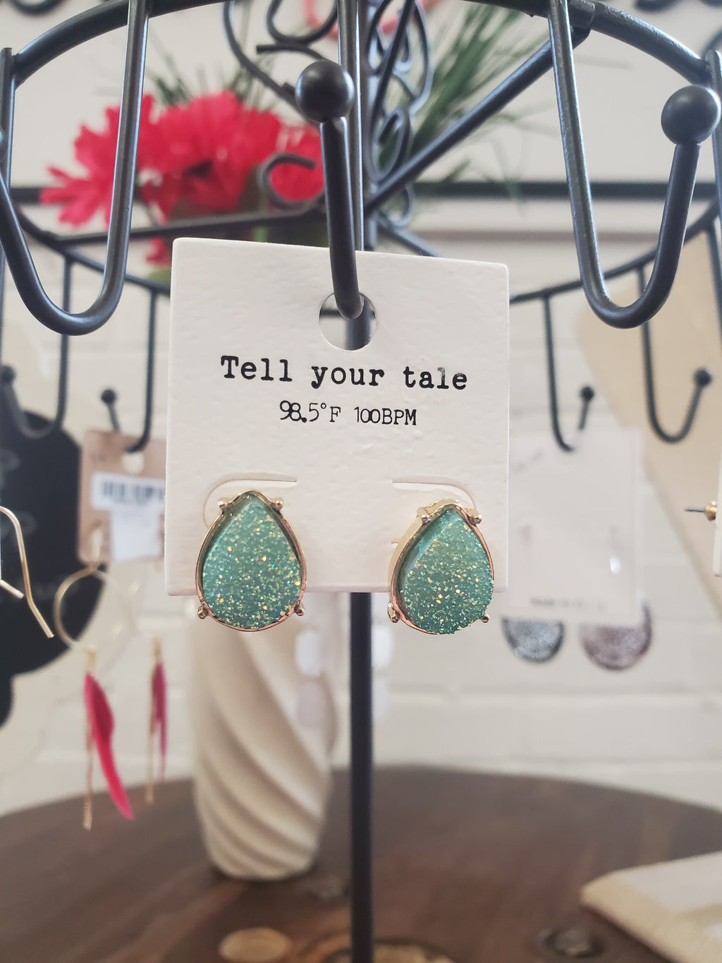 Seafoam Green Tear Drop Druzy Earrings