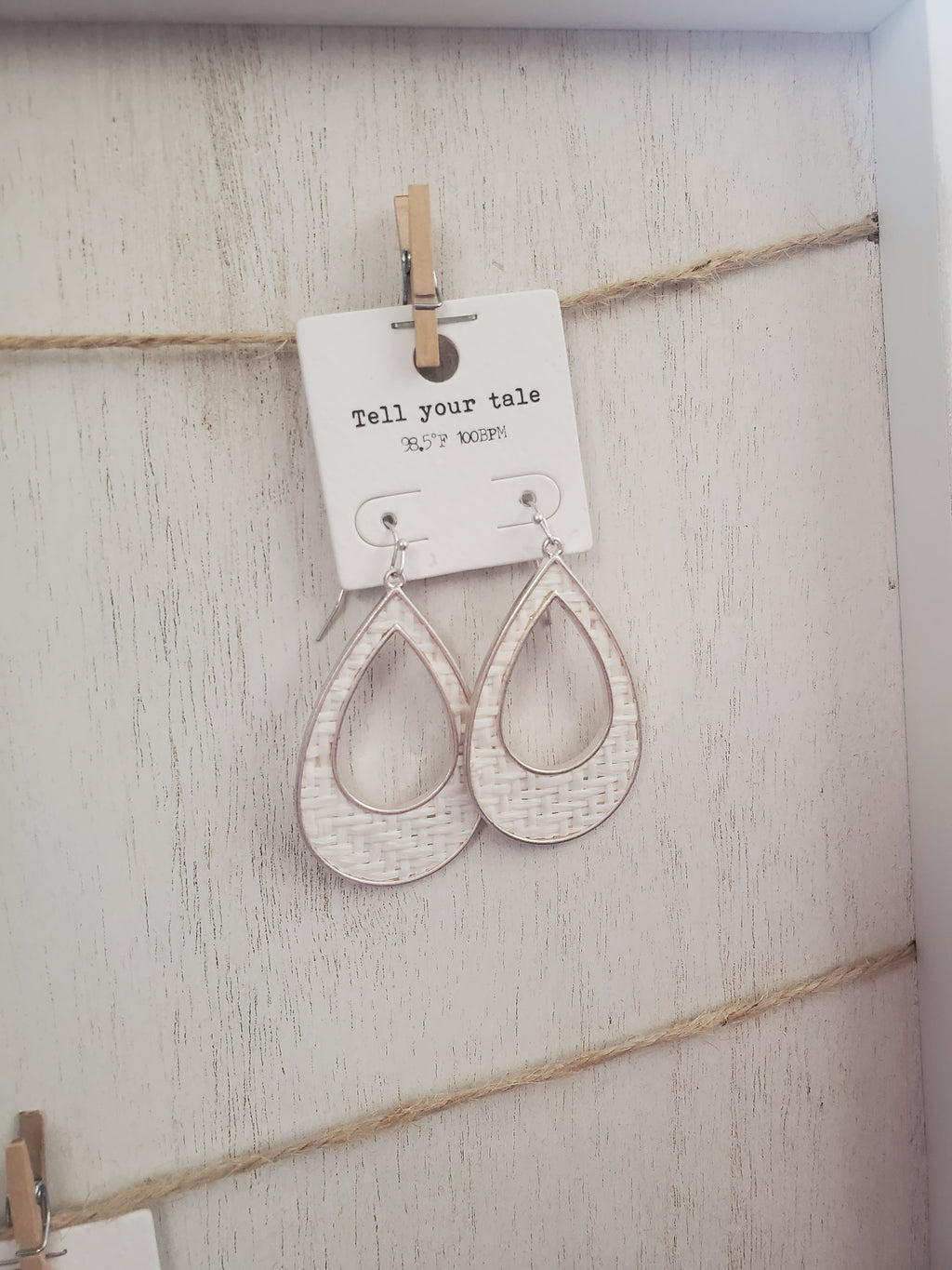 White woven Hoop Earrings