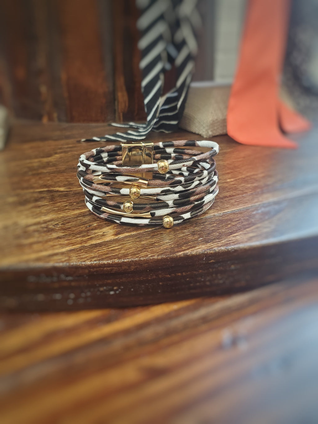 Spotted Black, Brown & White Bracelet