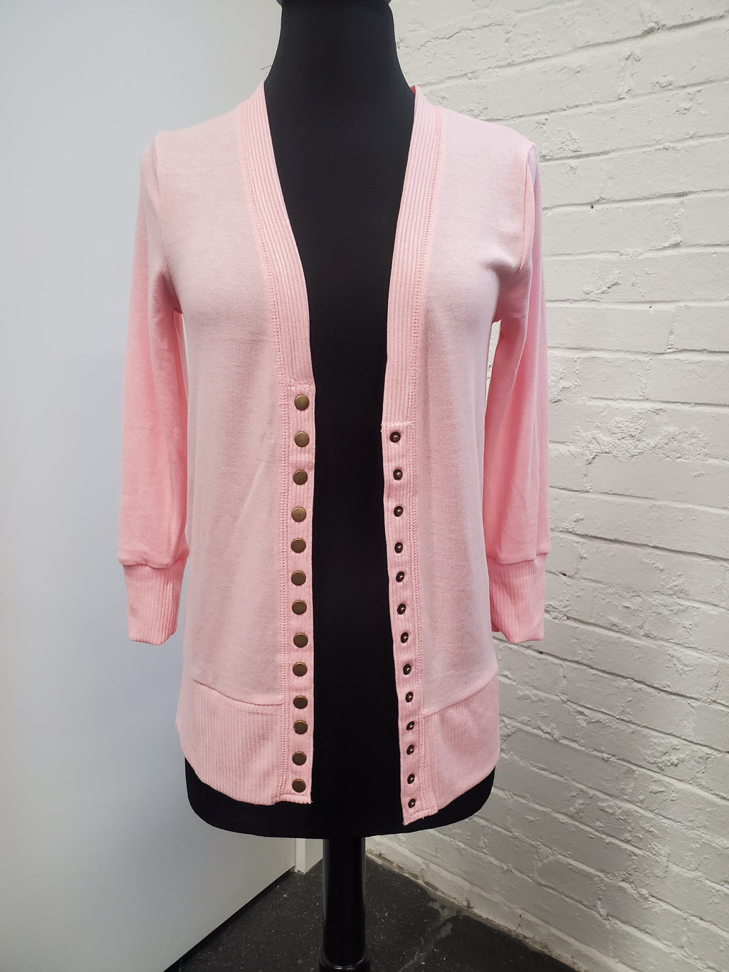 Light Pink Snap Cardigan 3/4 Sleeve