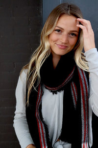 Black, Red & White plaid Scarf