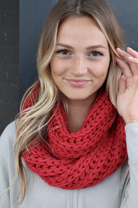Red Chunky Knit Infinity Scarf