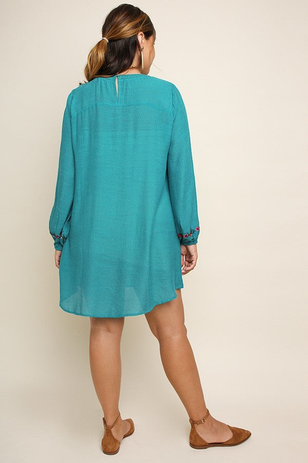 Teal Embroidered Tunic Dress