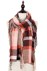 Pink & Brown Fringe Scarf