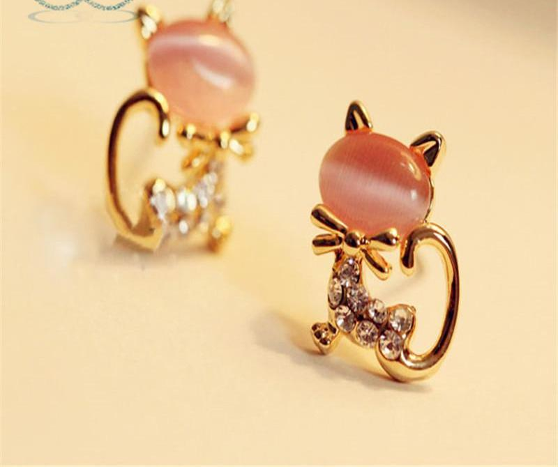 Cute Cat Stone Crystal Rhinestone  Stud Earrings - allthingsluvly.com