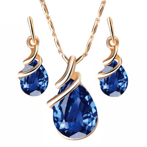 Austrian Water Drop Zircon Crystal Necklace and Earrings Jewelry set (Perfect Gift for her) - allthingsluvly.com