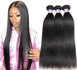 100% Brazilian Straight Human Hair Weave Bundles (1/3/4 Pieces) - allthingsluvly.com