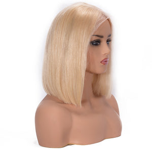 Blonde Short Bob Brazilian Remy Lace Front Human Hair, 150% Density with Pre plucked Hairline - allthingsluvly.com