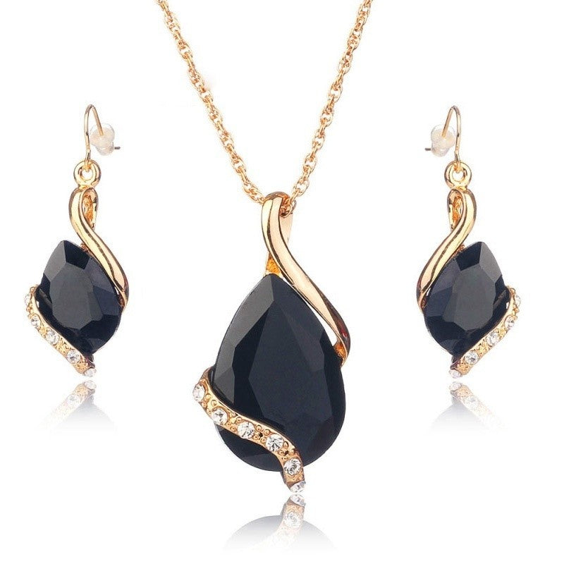Crystal Women Jewelry Set Necklace Earrings Wedding Party Jewelry - allthingsluvly.com