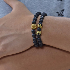 2piece set Classic Lion Head & Crown Bracelet - allthingsluvly.com