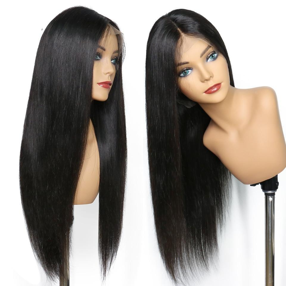 Brazilian Straight Lace Front Glueless Human Hair Wig with Pre Plucked Baby Hair - allthingsluvly.com