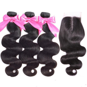 Brazilian Remy Body Wave, 3/4 Bundles + Closure - allthingsluvly.com