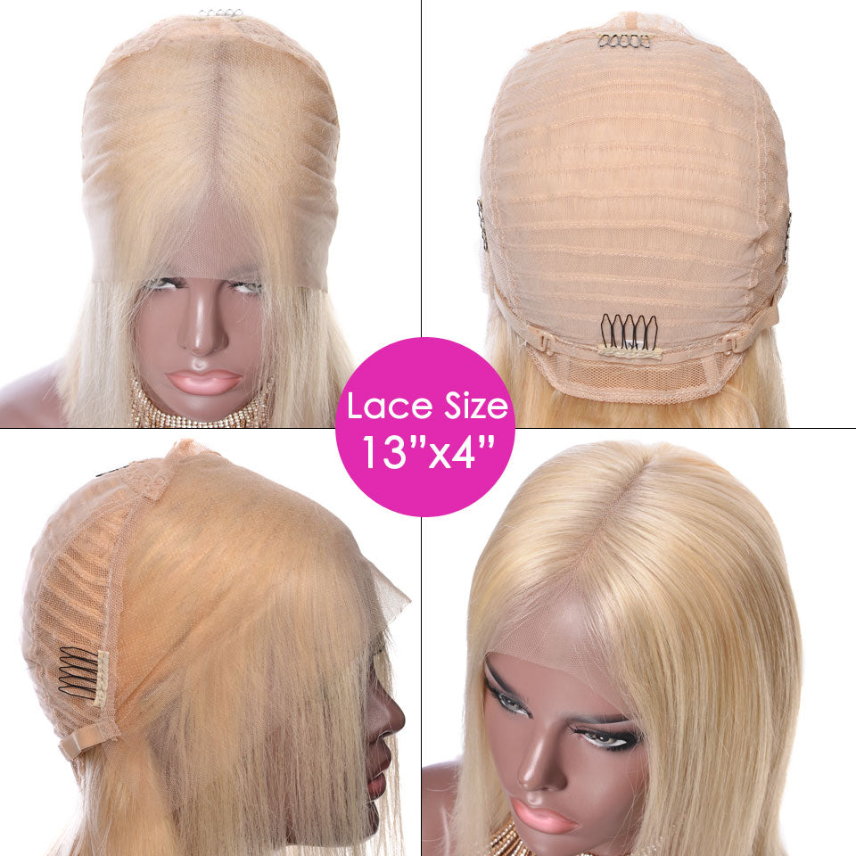 YVONNE Blonde Lace Front Wig 613 Short Bob Human hair Wigs Brazilian Straight Remy Hair - allthingsluvly.com