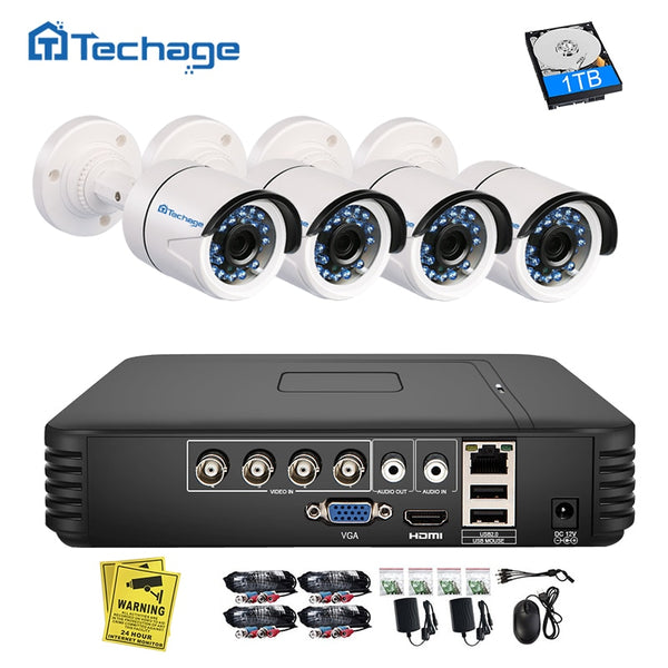 TechNiche 4CH 720P AHD DVR CCTV System 1.0MP 1200TVL IR Night Vision Indoor Outdoor Camera Home Security Video Surveillance Kit