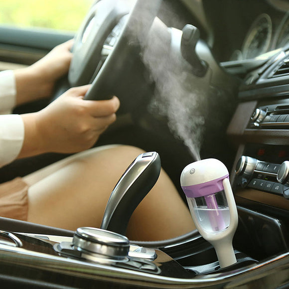TechNiche 12V Mini Car Steam Humidifier Air Purifier Aroma Aromatherapy Essential Oil Diffuser Mist Maker Mini Fogger