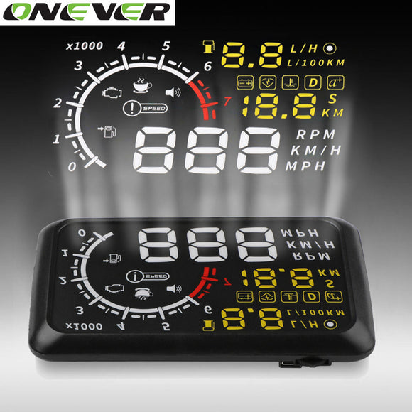 TechNihe Onever 5.5'' 4C OBDII Car HUD OBD2 Port Head Up Display Windows Screen Speed Projector Warning System Windshield Projector Alarm