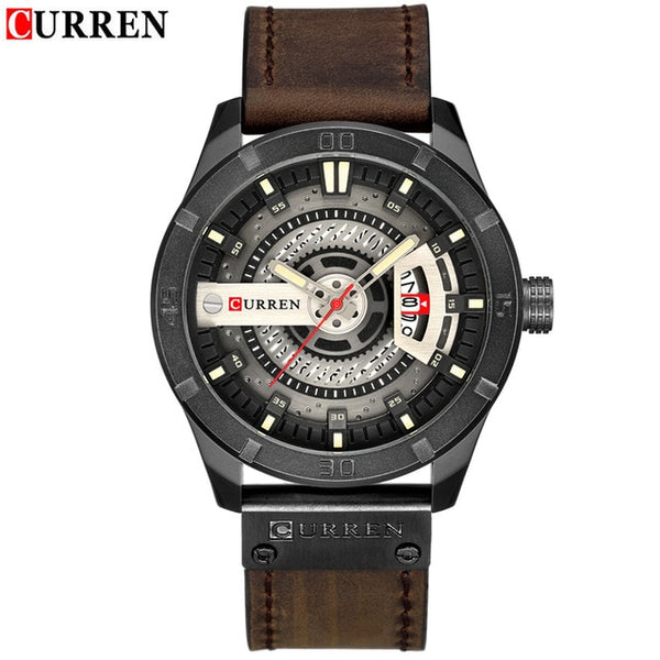 TechNiche Luxury Men's Military Sports Watch Quartz Date Clock Casual Leather Wrist Watch