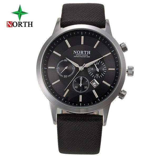 TechNiche Fashion Men's Watch Leather + Stainless Steel Quartz-Watch Waterproof Business Wrist Watch Clock