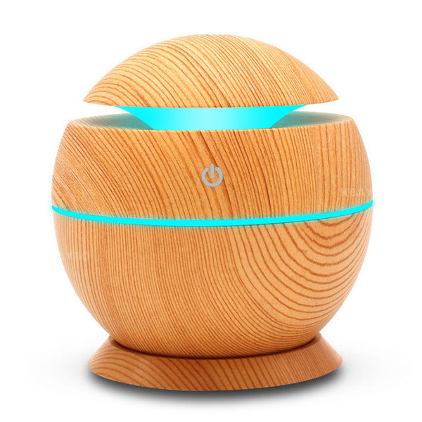 TechNiche USB Aroma Humidifier Aromatherapy Wood Grain 7 Color LED Lights Elegant Electric Essential Oil Aroma Diffuser 130ml