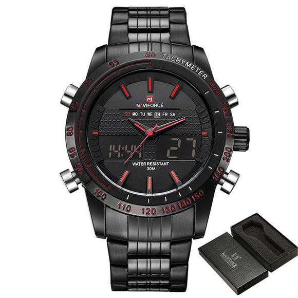 TechNiche Men's Luxury Fashion Sport Watch Quartz Digital Analog Clock Full Steel Wrist Watch