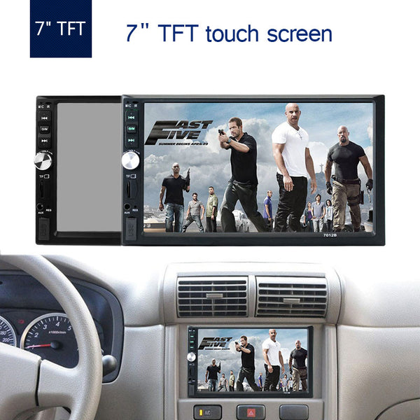 "TechNiche 7"" TFT 1080P Touch Screen Bluetooth Car MP5 Player 12V Car Audio Video FM USB SD AUX IN Support Rearview Camera"