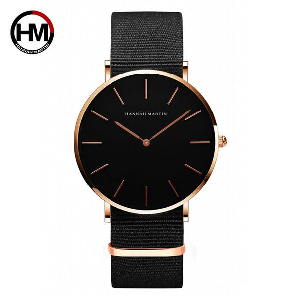 TechNiche Unisex High Quality Rose Gold Dial Watch Leather Waterproof Wristwatch Fashion Japan Quartz Movement