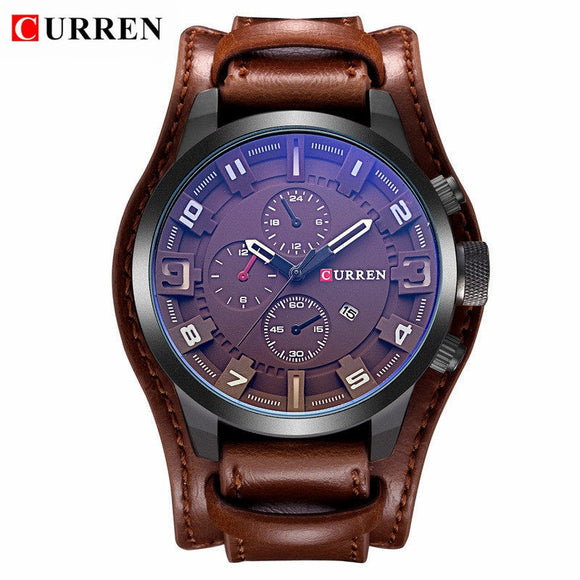TechNiche Men's Luxury Leather Strap Waterproof Sport Quartz Watch Military Clock