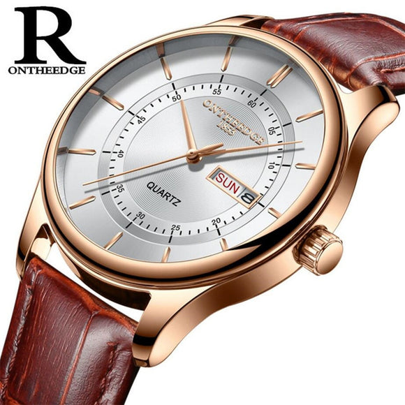 TechNiche High Quality Rose Gold Dial Watch for Men Leather Waterproof 30M Business Fashion Japan Quartz