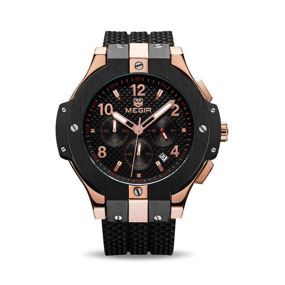 TechNiche Military Megir Men's Chronograph Quartz Watch Sports Silicone Wristwatches