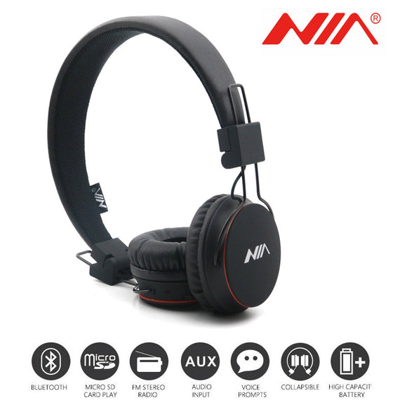 TechNiche Foldable Stereo Bluetooth Headphones Wireless Earphone Headsets with Mic Support TF Card FM Radio