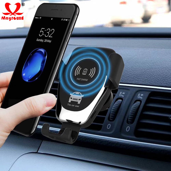 TechNcihe10W QI Wireless Fast Charger Car Mount Holder Stand For iPhone XS Max Samsung S9 For Xiaomi MIX 2S Huawei Mate 20 Pro Mate 20 RS