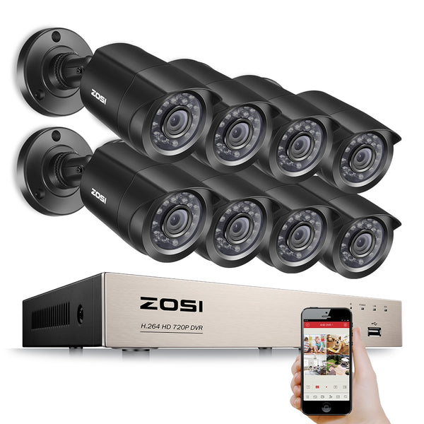 TechNiche 8CH DVR 720P HDMI CCTV System Video Recorder 8PCS 1280TVL Home Security Waterproof Night Vision Camera Surveillance Kits