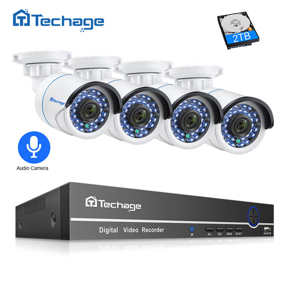 TechNiche 8CH 1080P POE NVR CCTV Security System 4PCS 2.0MP Audio Record IP Camera IR P2P Outdoor Video Surveillance Kit 2TB HDD