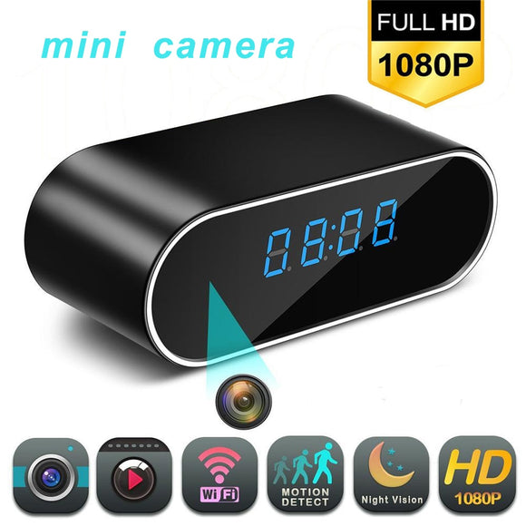 TechNiche 1080P WIFI Mini Camera Time Alarm Wireless Nanny Clock P2P IP/AP Security Night Vision Motion Detection Home Secret hidden