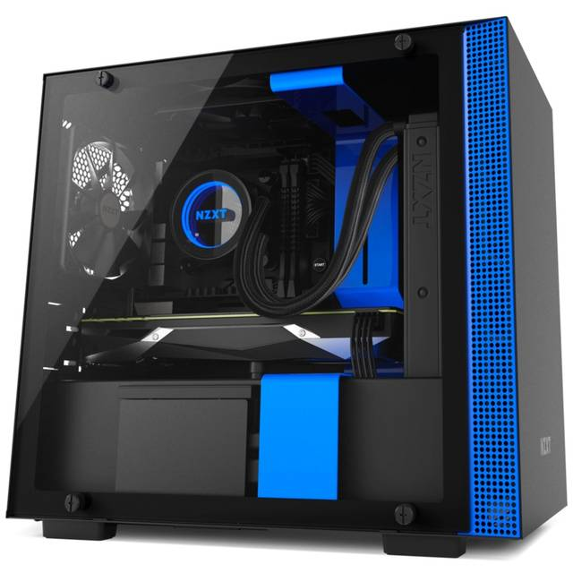 NZXT H200i No Power Supply Mini-ITX Case w/ Lighting and Fan Control (Matte Black/Blue)