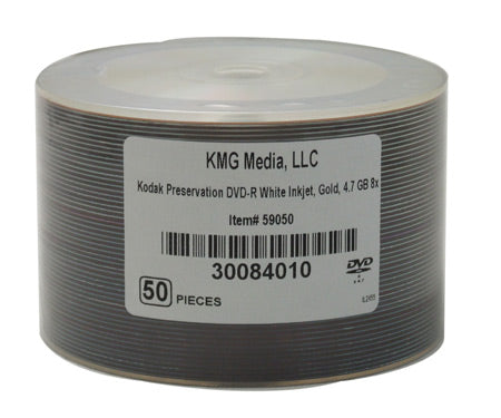 Kodak DVD-R, 4.7GB, 24K Gold Layered, Wht IJ Hub Printable, Bulk