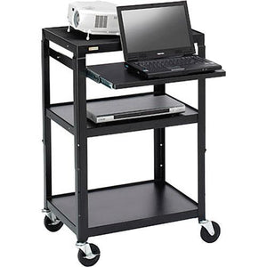 AV CART W/SLIDE OUT NOTEBOOK SHELF, ADJUSTABLE HEIGHT, 24W X 18D X 27-43H, WELDE