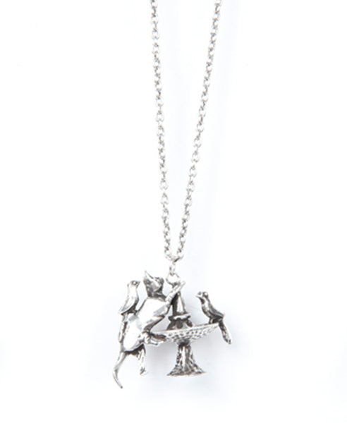 Annabelle Pendant Necklace, Antique Silver